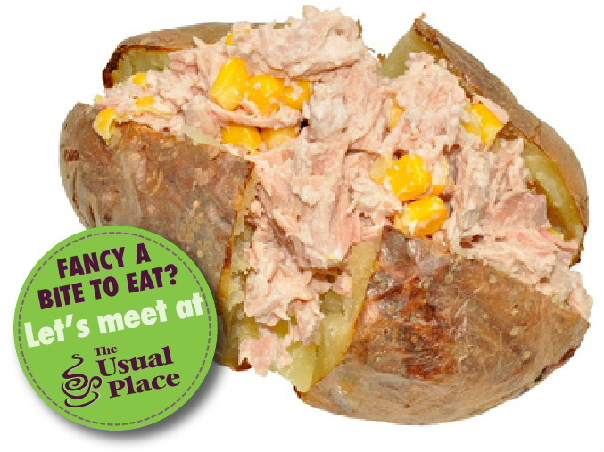 Enjoy a tuna sweetcorn jacket potato at The Usual Place Cafe Dumfries