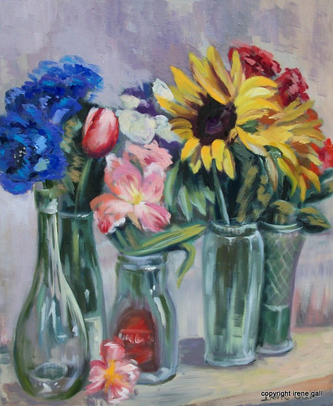 Flowers, still life, jars