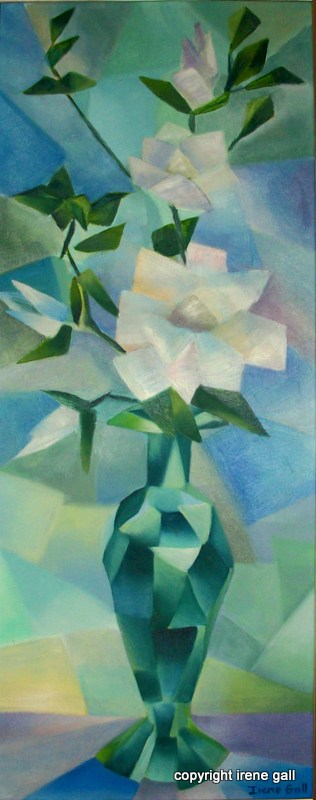 geometric depiction of magnolias in a copper vase