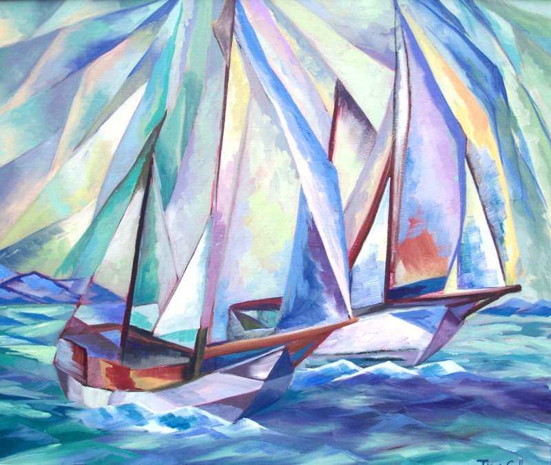 cubist depiction, colourful, sailing boats, oil painting