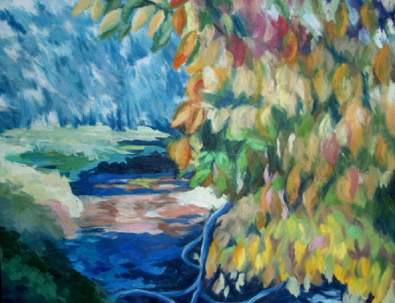 Autumn Leaves over the Crichope Burn, Closeburn Mill by contemporary Scottish artist Irene Gall of Thornhill, Dumfries and Galloway