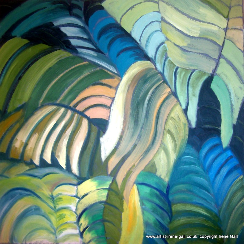 Banana leaves abstract painting by contemporary Scottish artist Irene Gall of Thornhill, Dumfries and Galloway