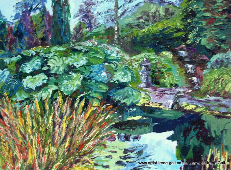 Painting of The Pond at Threave Gardens by contemporary Scottish artist Irene Gall of Thornhill, Dumfries and Galloway