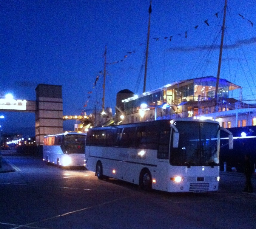 Two of our luxury coaches at the Royal Yacht Britannia