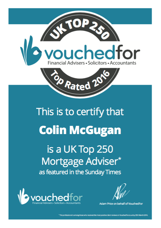 Greenock mortgage brokers Cailean Mortages are celebrating after Colin McGurgan of Cailean Mortgages was named a UK top 250 mortgage adviser by VouchedFor as featured in the Sunday Times.