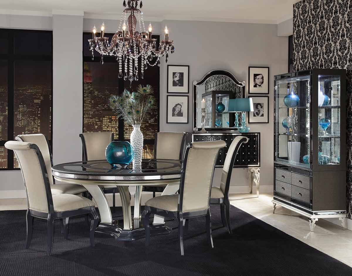 The Hollywood Swank round dining table and chairs