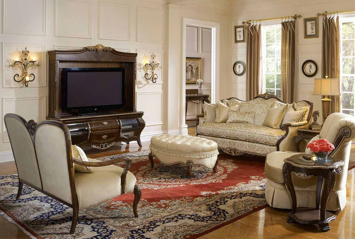 Imperial Court champagne study with entertainment center