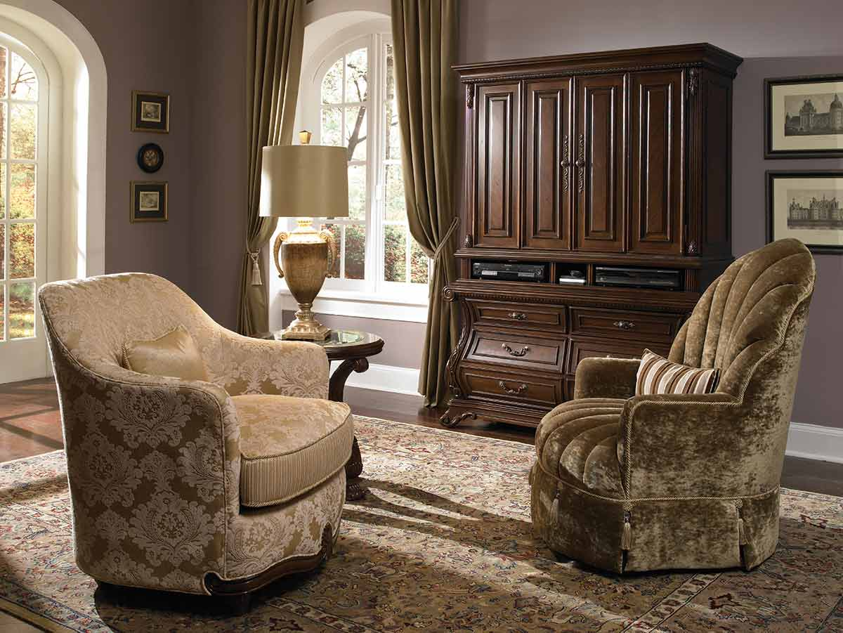 The Palace Gates accent chairs and armoire