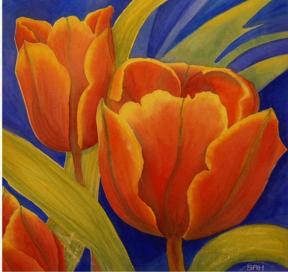 Sue harrison art original floral landscape paintings limited red tulips princess irene tulips reds yellows greens on a blue background kristyandbryce Gallery
