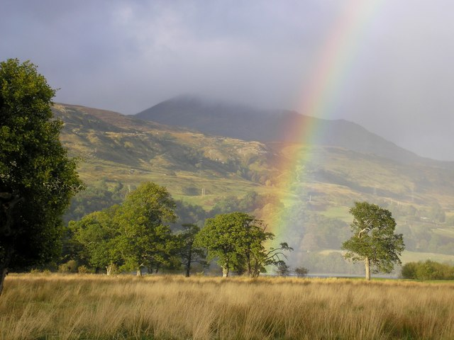 A rainbow with Ben Lawers in the background. Greenbank self-catering Killin