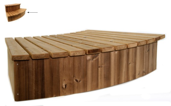 Steps for the wood fired hot tub range by Kirami supplied by Wood Fire Water in the UK