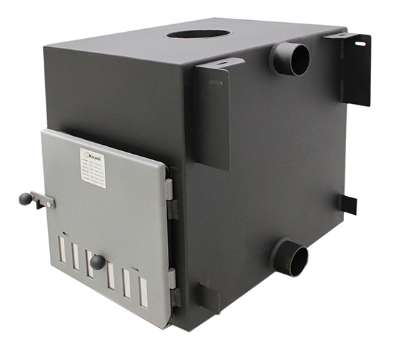 The Cube wood fired heater for the Kirami Hot Tub Range supplied by Wood Fire Water in the UK