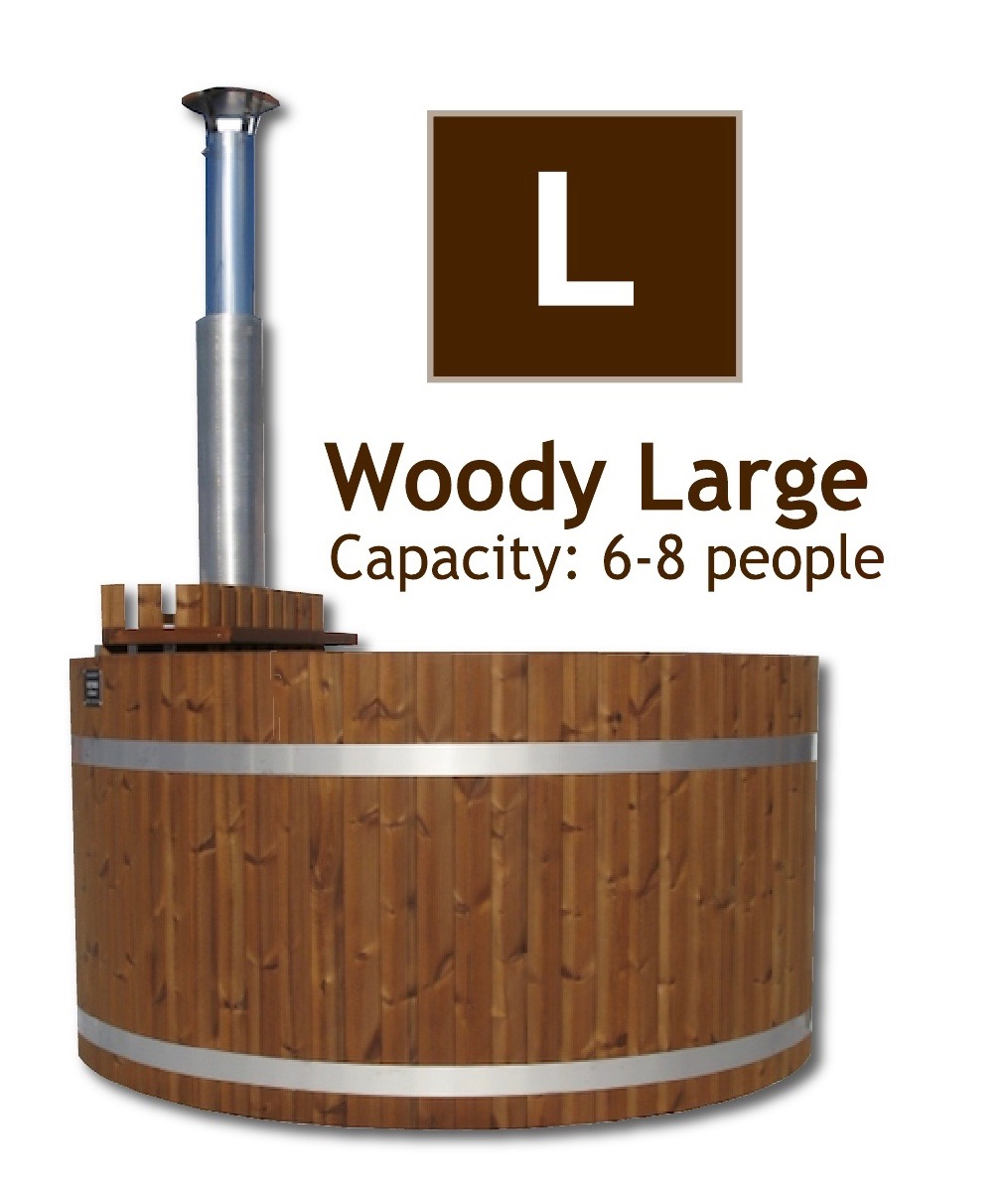 The Woody L Large wood fired hot tub by Kirami supplied by Wood Fire Water in the UK