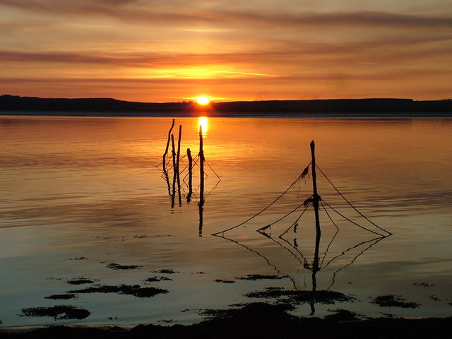 Sunset over the Point Nets at Creetown on the River Cree