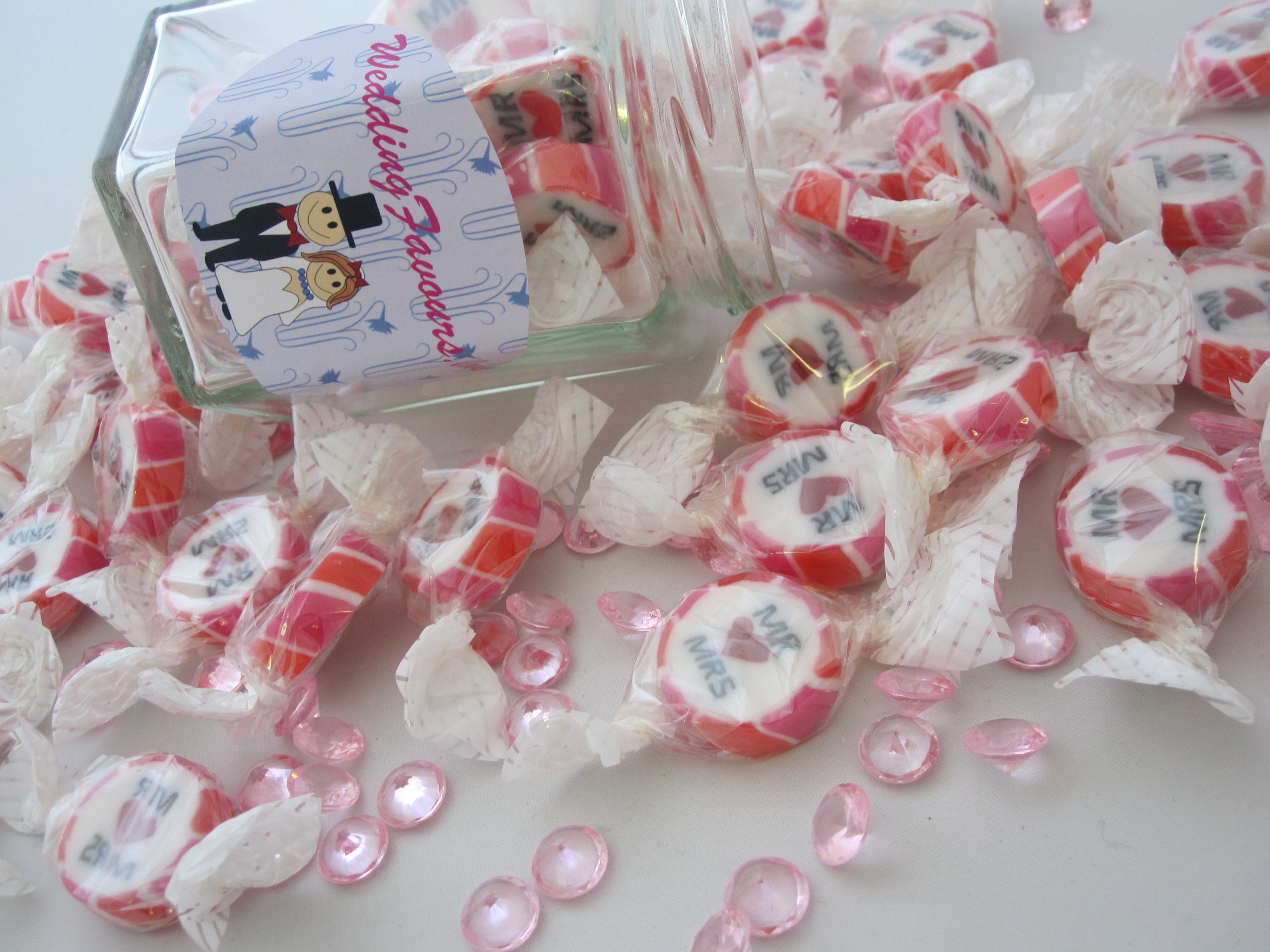 Pink and Red Mr & Mrs Favours