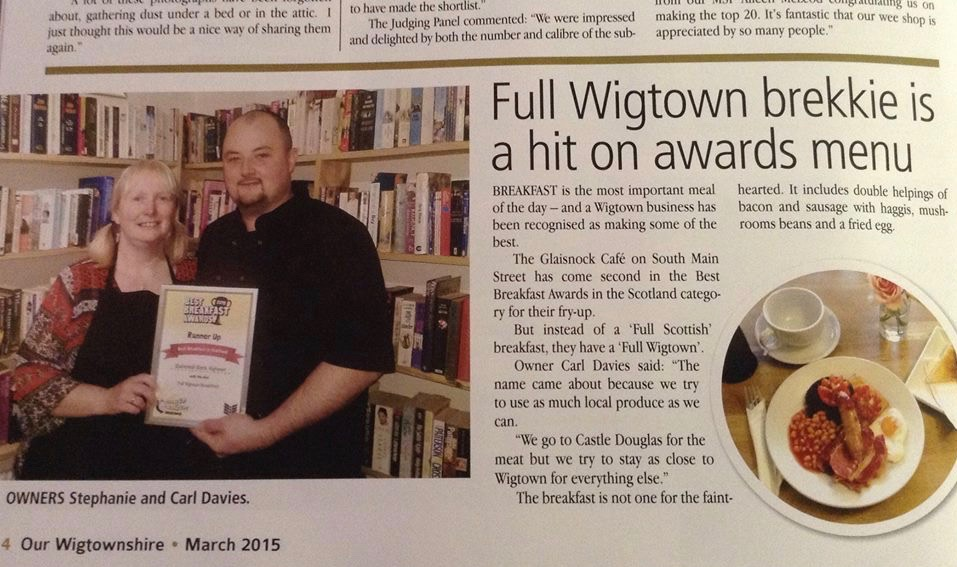 Our Wigtownshire article on the full Wigtown Brekkie at The Glaisnock coming second in the Best Breakfast awards in Scotland