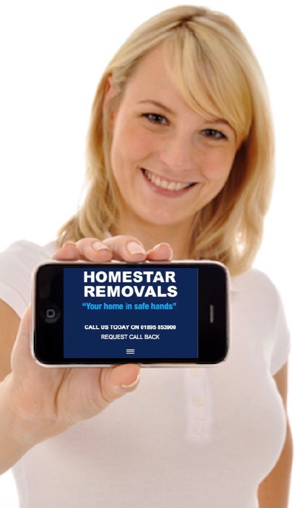 Lady showing the Homestar Removals call-back request on a mobile phone