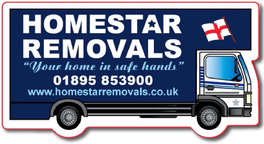 Homestar Removals logo with the company's name on a large removal van