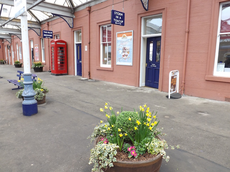 A view of station platform 3 with its beautifully kept tubs of flowers