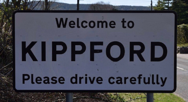 Road sign at the entrance to Kippford village