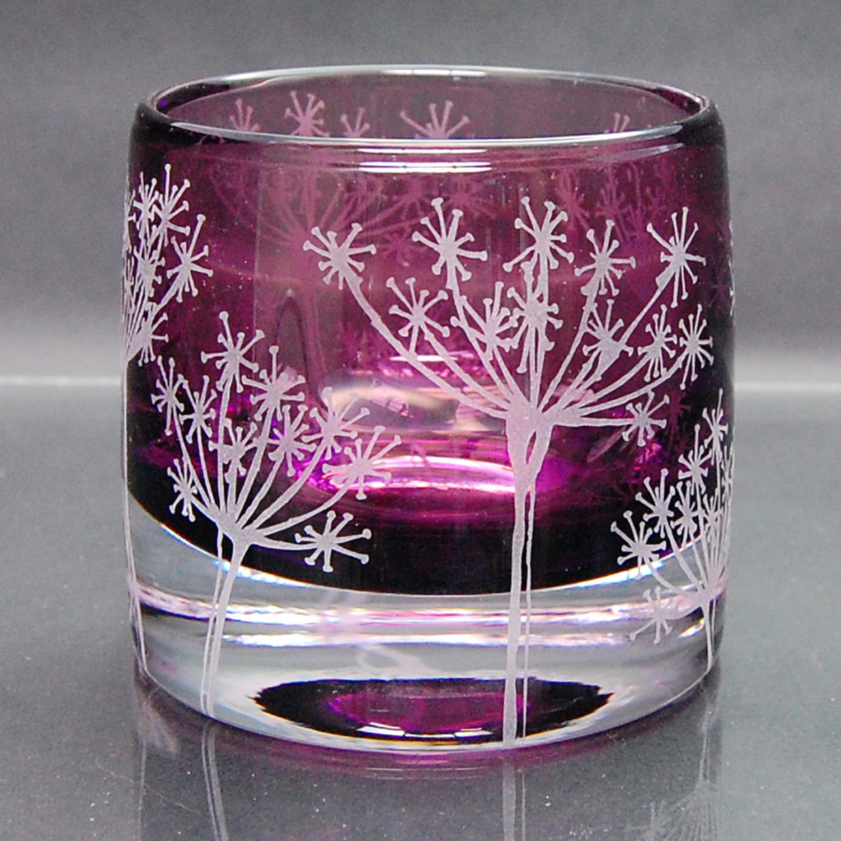 purple, tealight, holder, glass cow parsley