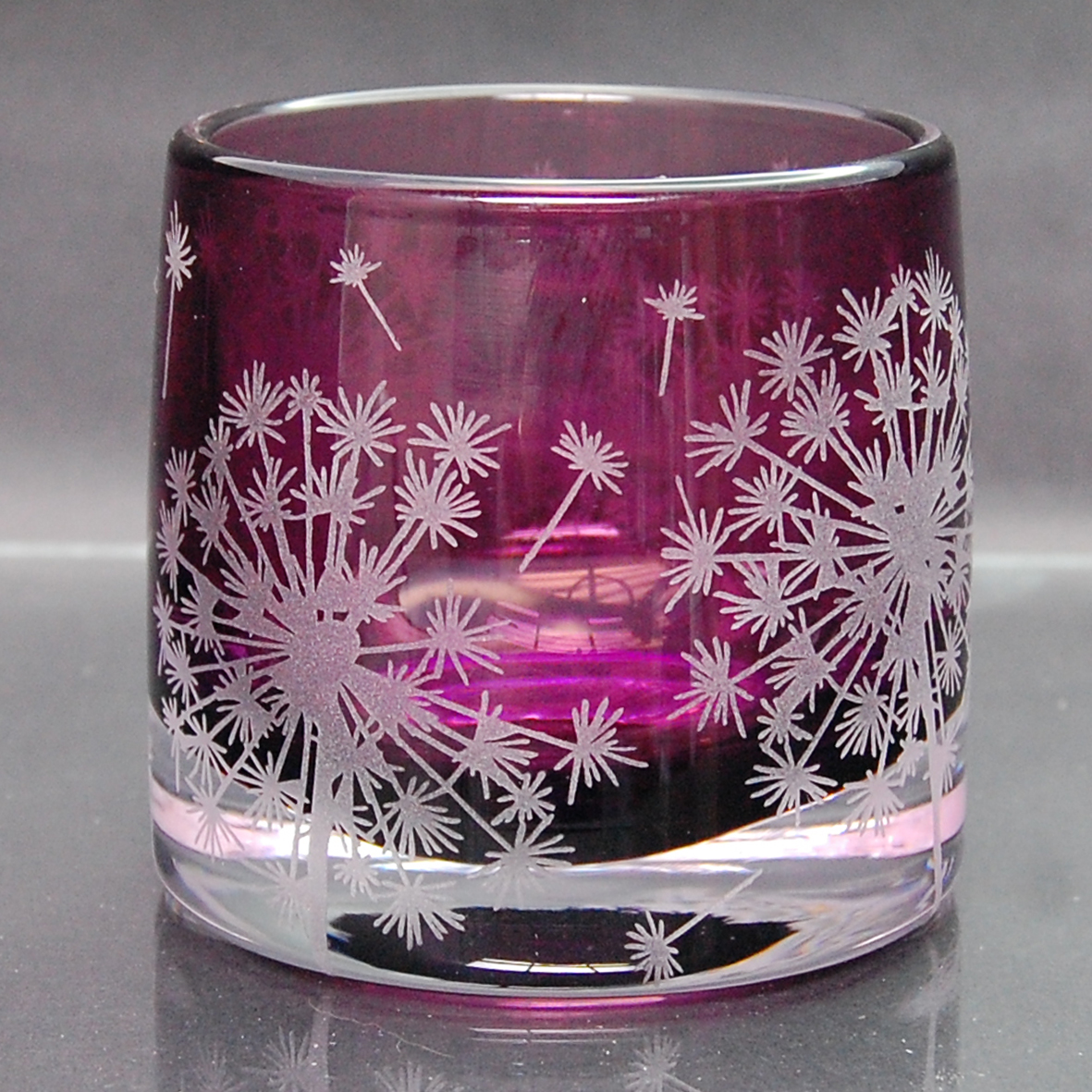 purple, tealight, holder, glass Dandelion