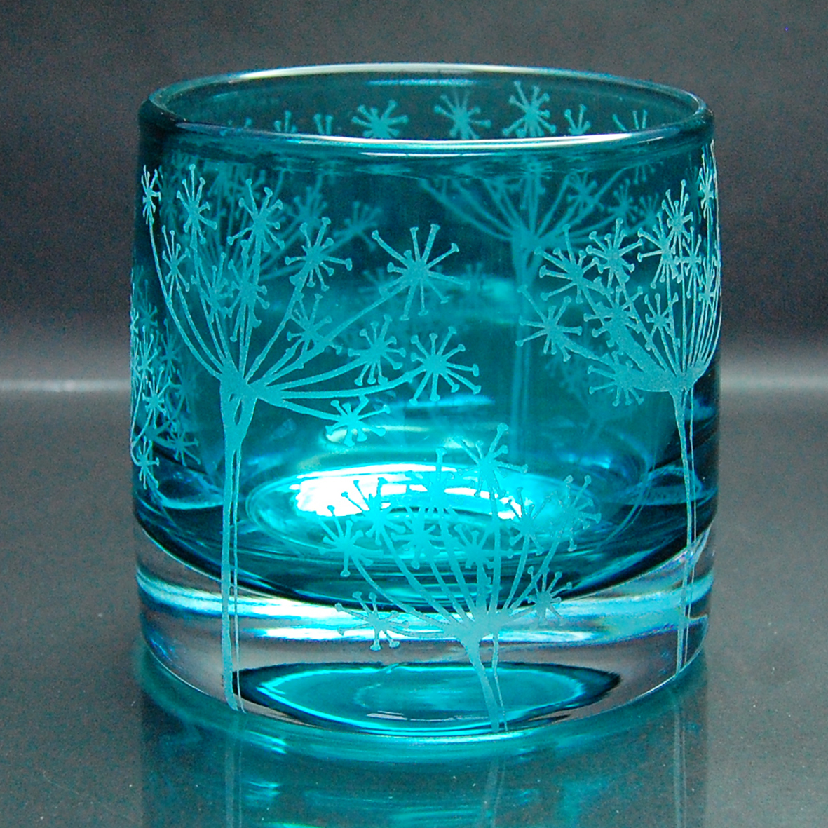 blue, tealight, holder, glass cow parsley