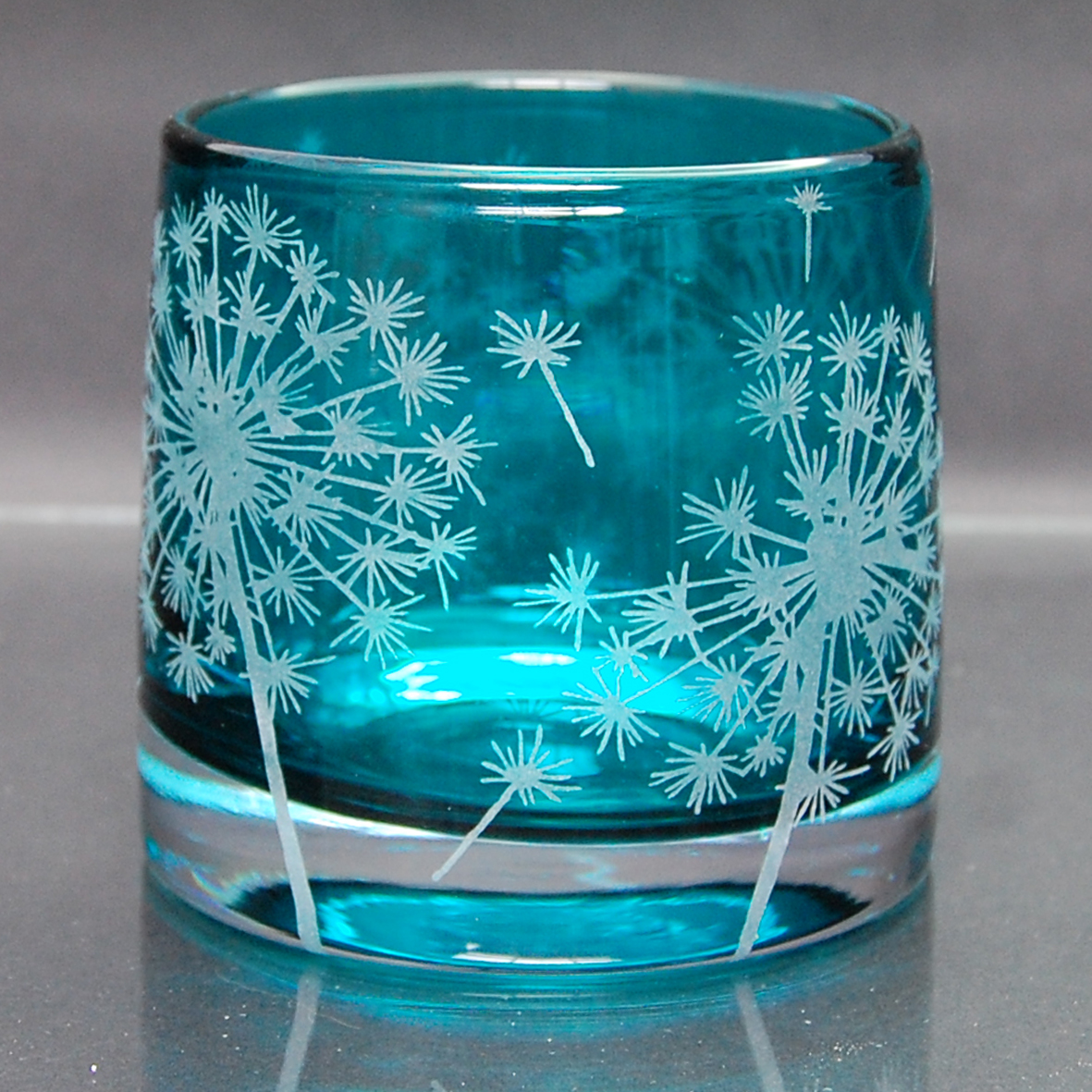 blue, tealight, holder, glass Dandelion
