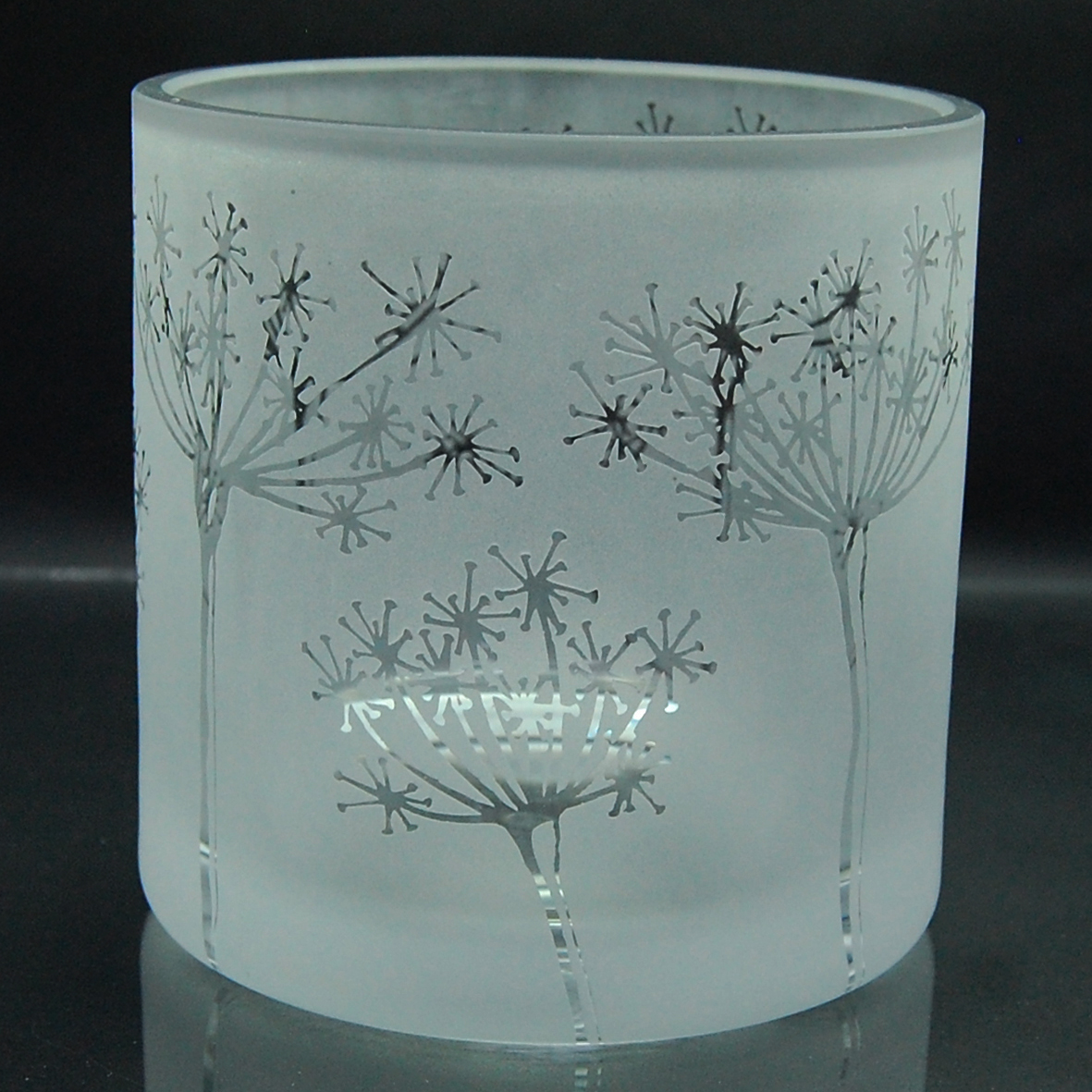 glass, tealight holder, cowparsely, etched, sandblasted