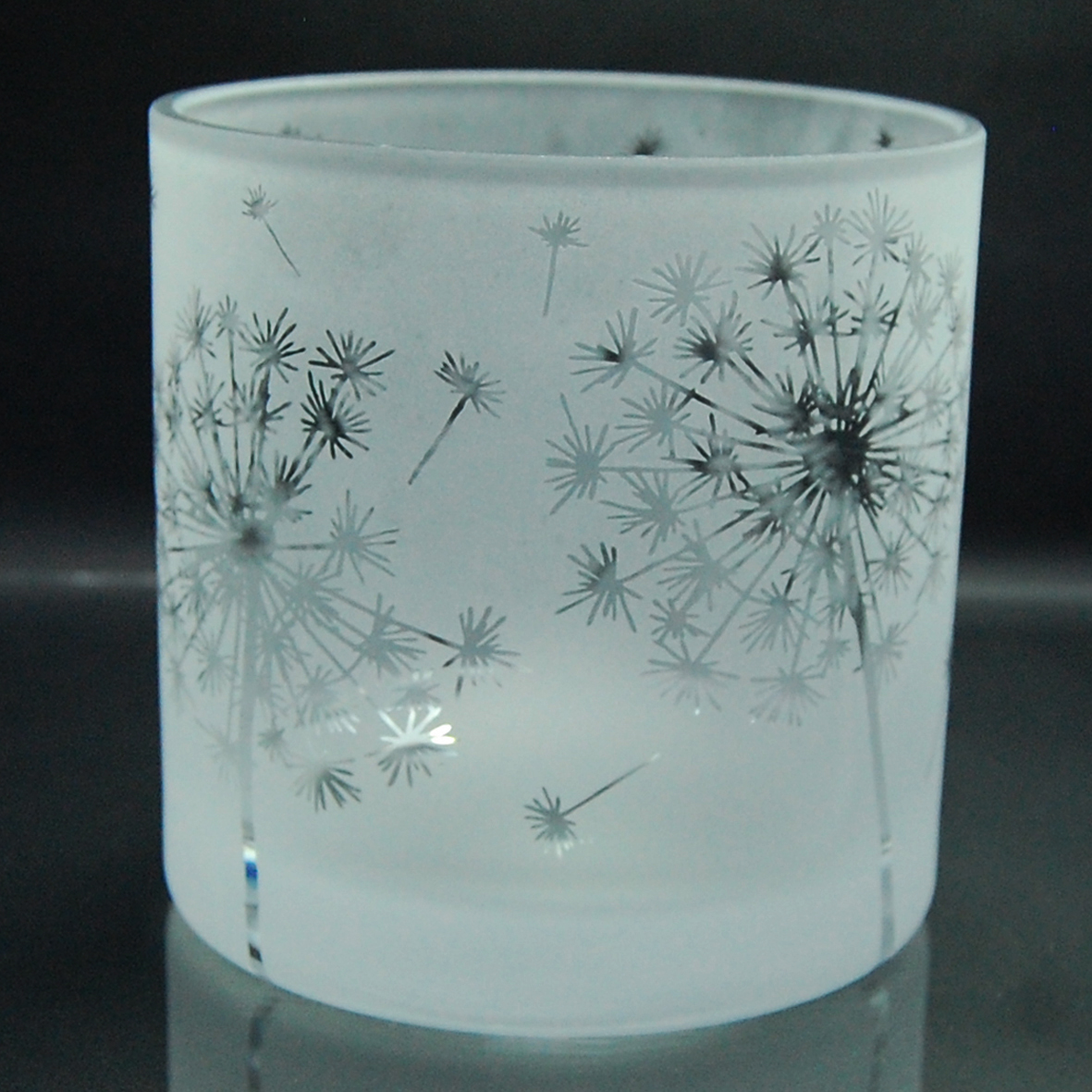 glass, tealight holder, dandelion, etched, sandblasted