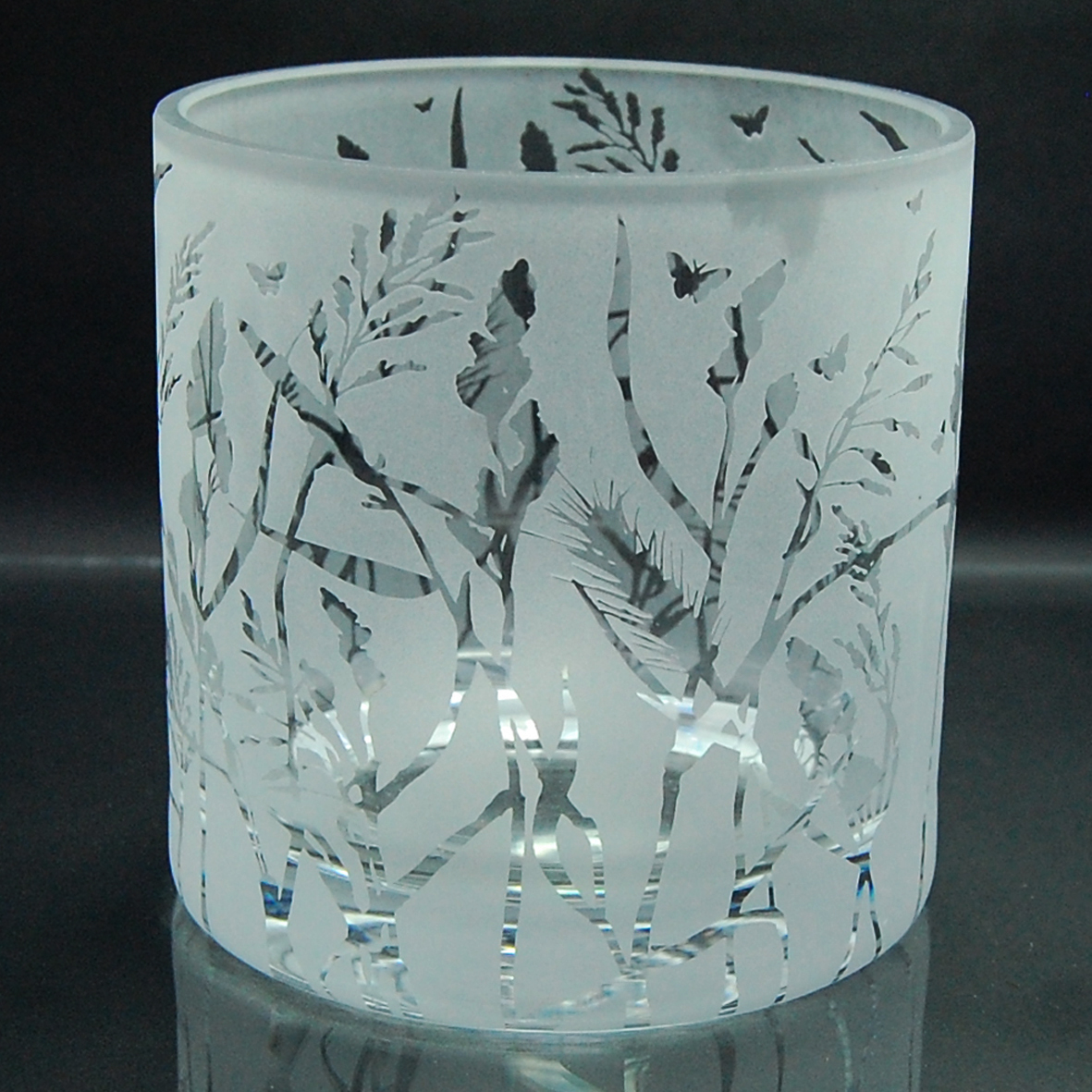 sandblasted, etched, glass, tealight holder, grasses