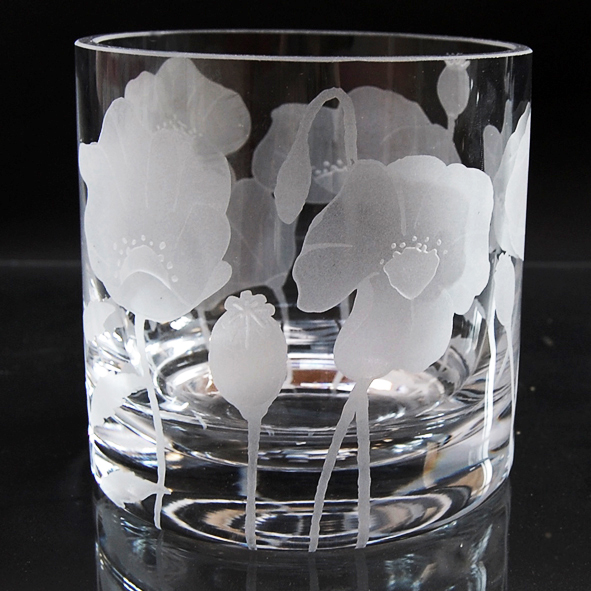 glass tealight holder, poppy
