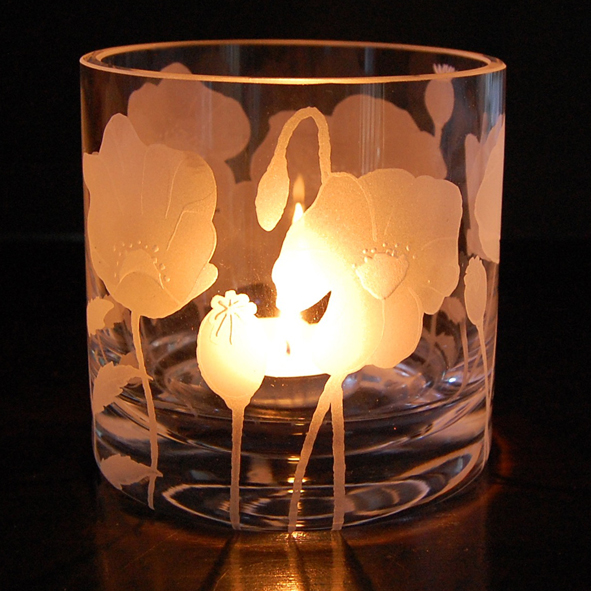 Poppy, glass, tealight, holder
