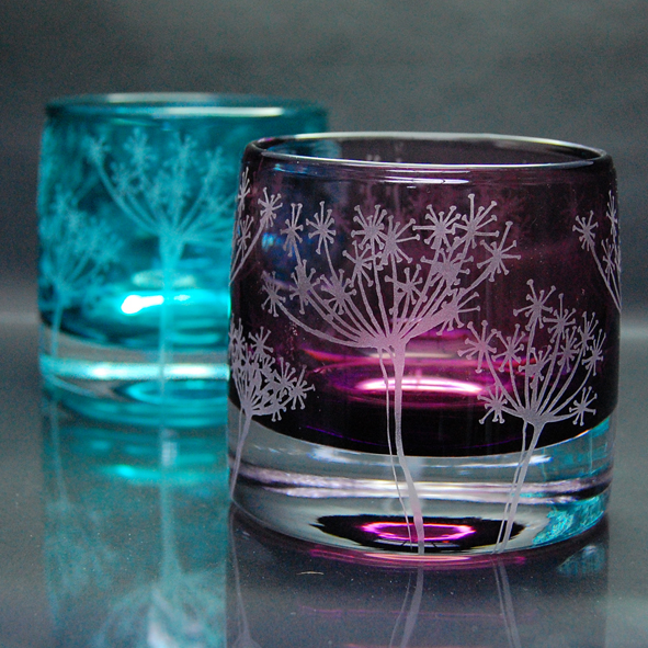 Purple, Glass, Tealight holder, Cow parsley