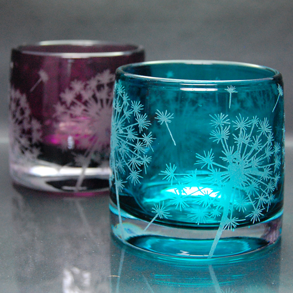 blue,glass, ealight holder, dandelion,