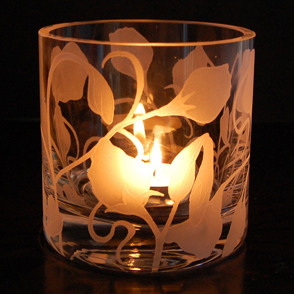 Sweetpea, tealight, holder, glass