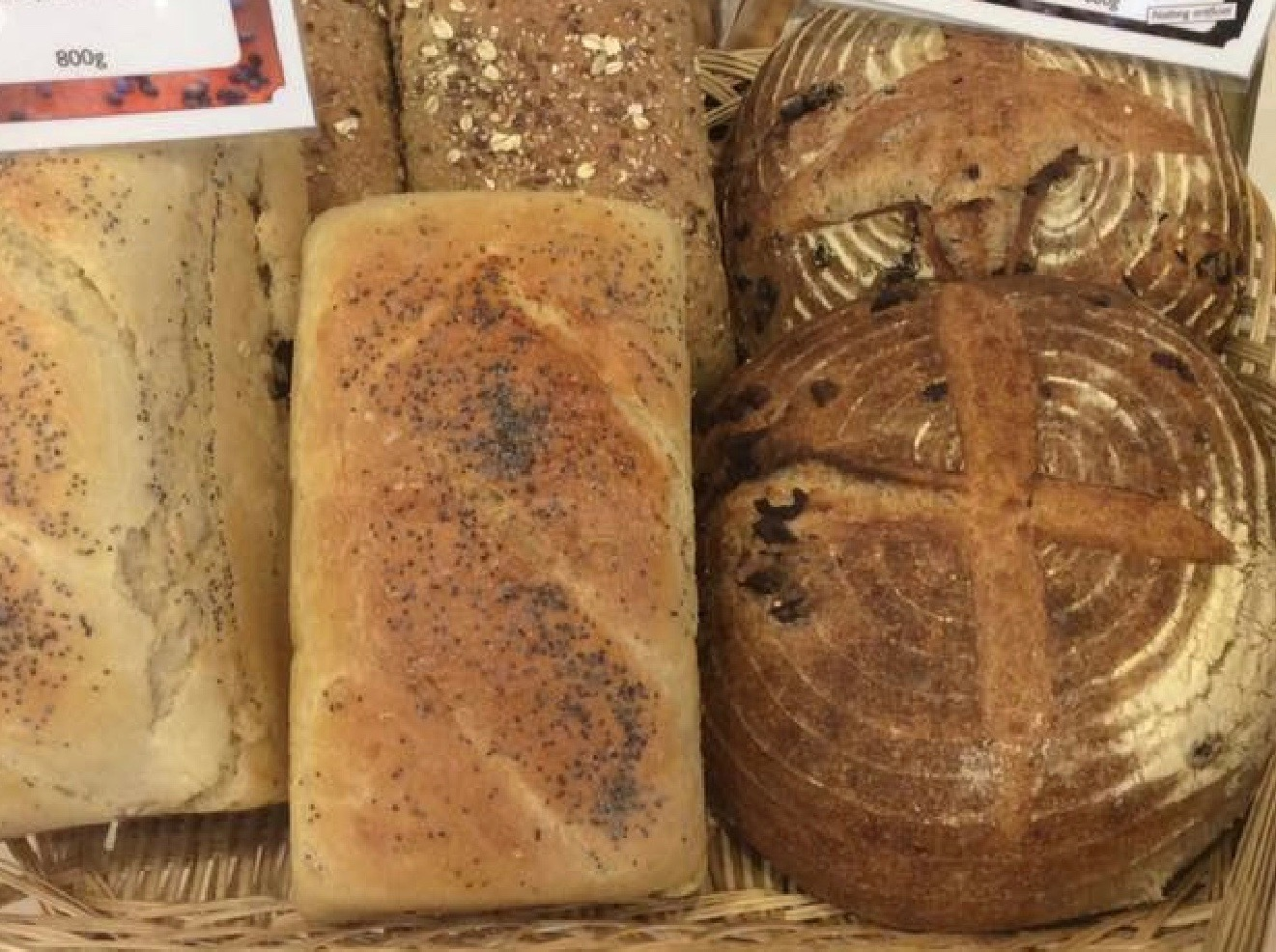 Various artisan-made breads and rolls