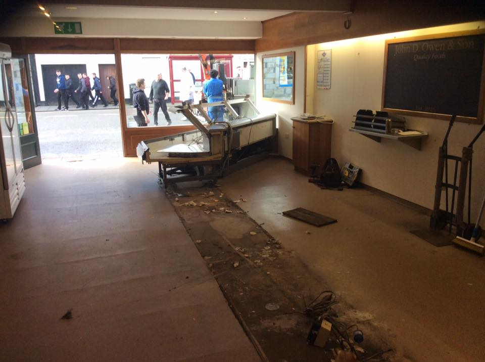 The shop was gutted following the damage caused in Newton Stewart by Storm Frank