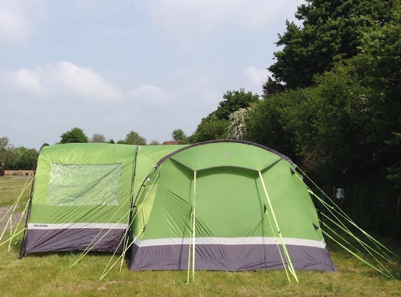 View of a family sized tent pitched at Goldpark in Kent