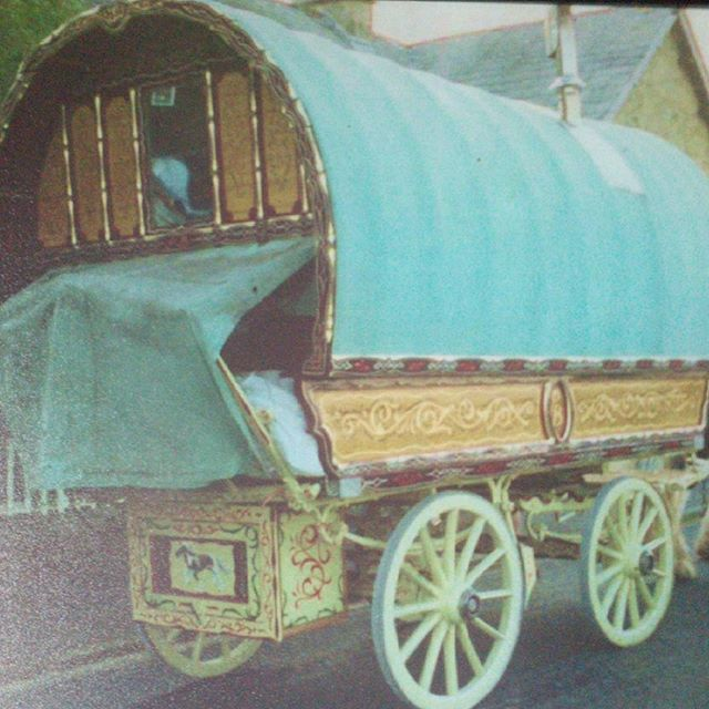 gypsy wagon, faux wood grained panels with gold lea-KBMorgan scrolls and shamfers