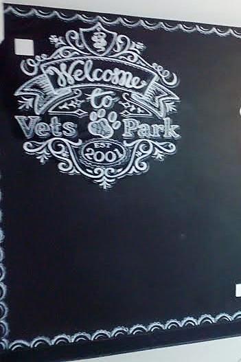 Chalkpainting, white fancy lettering and ribbon for vets in Cheltenham-KBMorgan