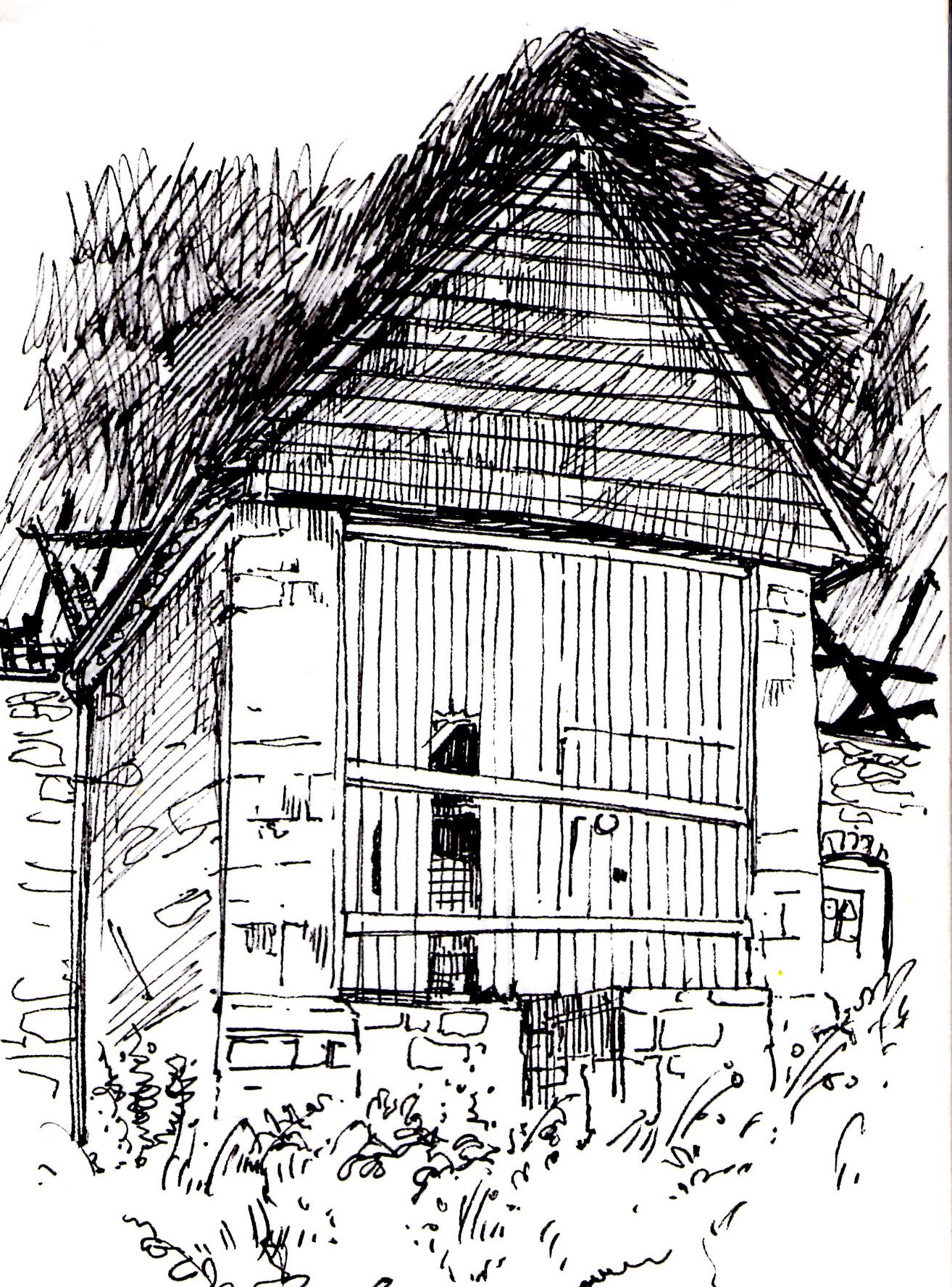 Page from my sketchbook- old wooden side door of old stone barn-KBMorgan