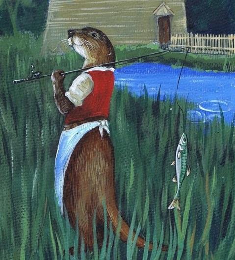 Fishing Otter wearing white apron  - KBMorganith fishing rod next to mill pond.