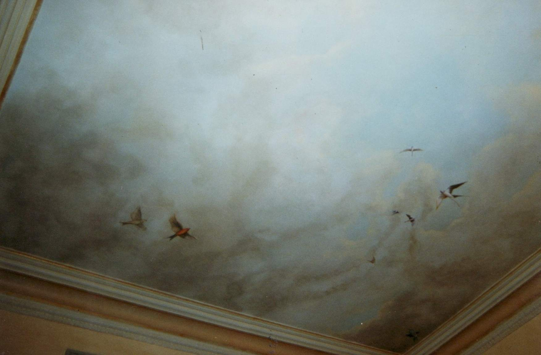 Painted ceiling small birds flying across a stormy sky. - KBMorgan