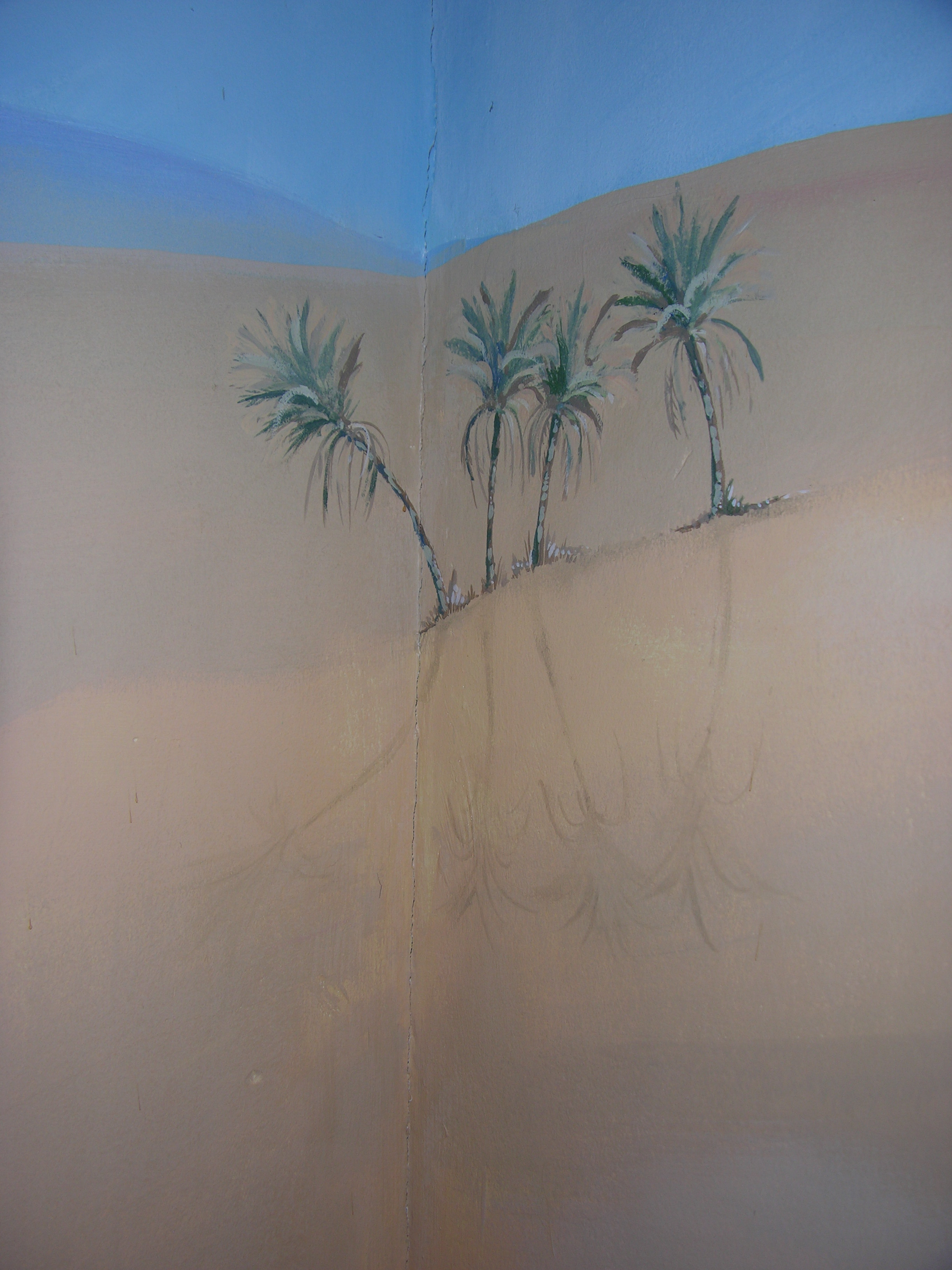 Desert Mural-four palm trees on a desert with bright blue clear sky -detail