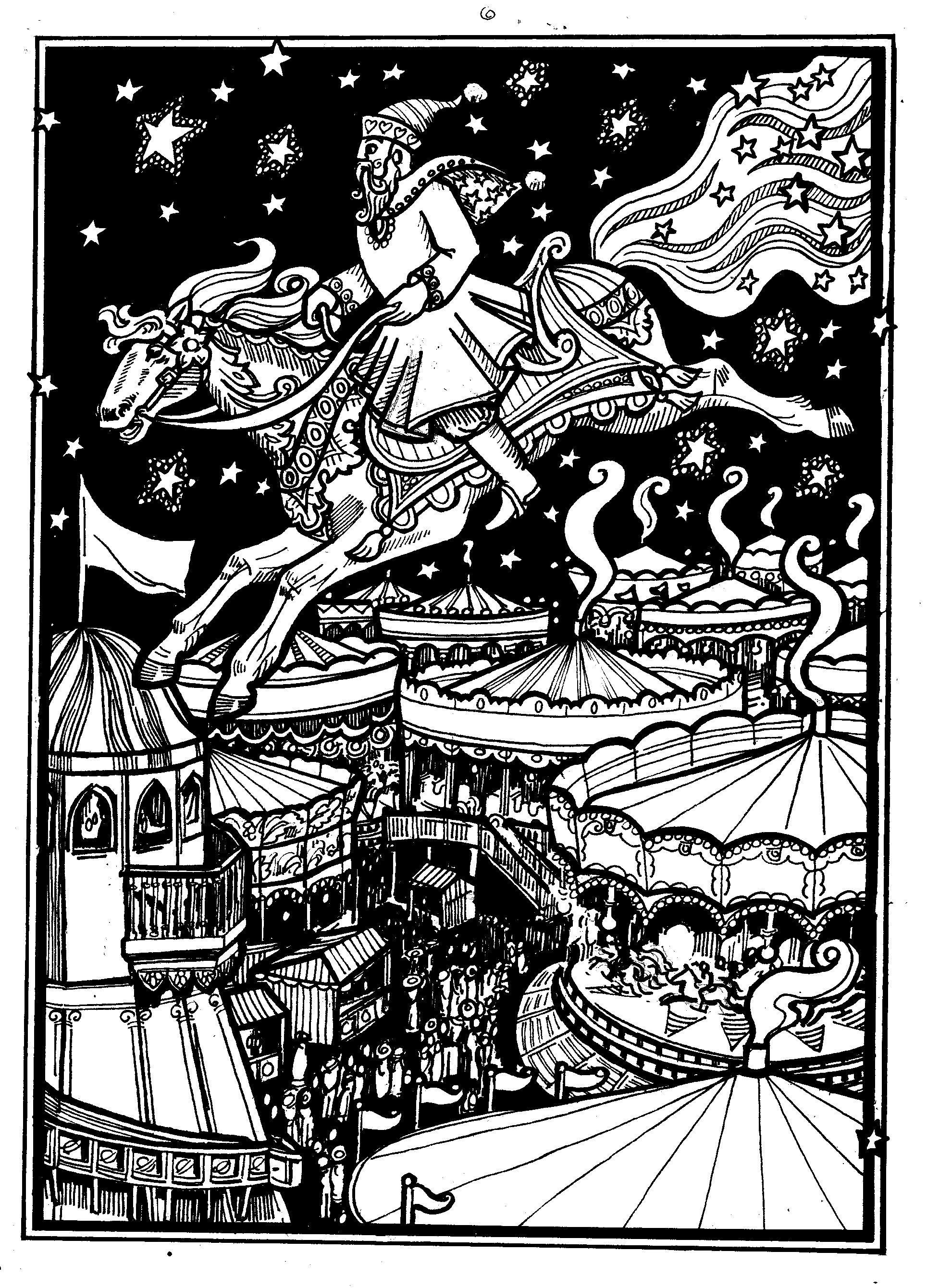 father xmas on a fairgroundorse galloping through the sky over a funfair, at night with stars.
