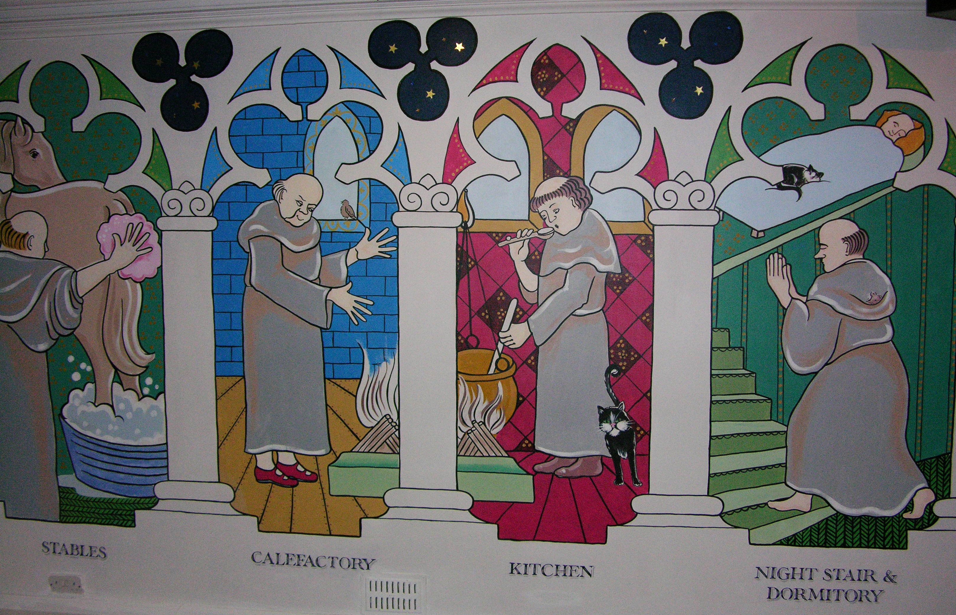 Mural at Sudeley Castle-Cartoons of monastery life.