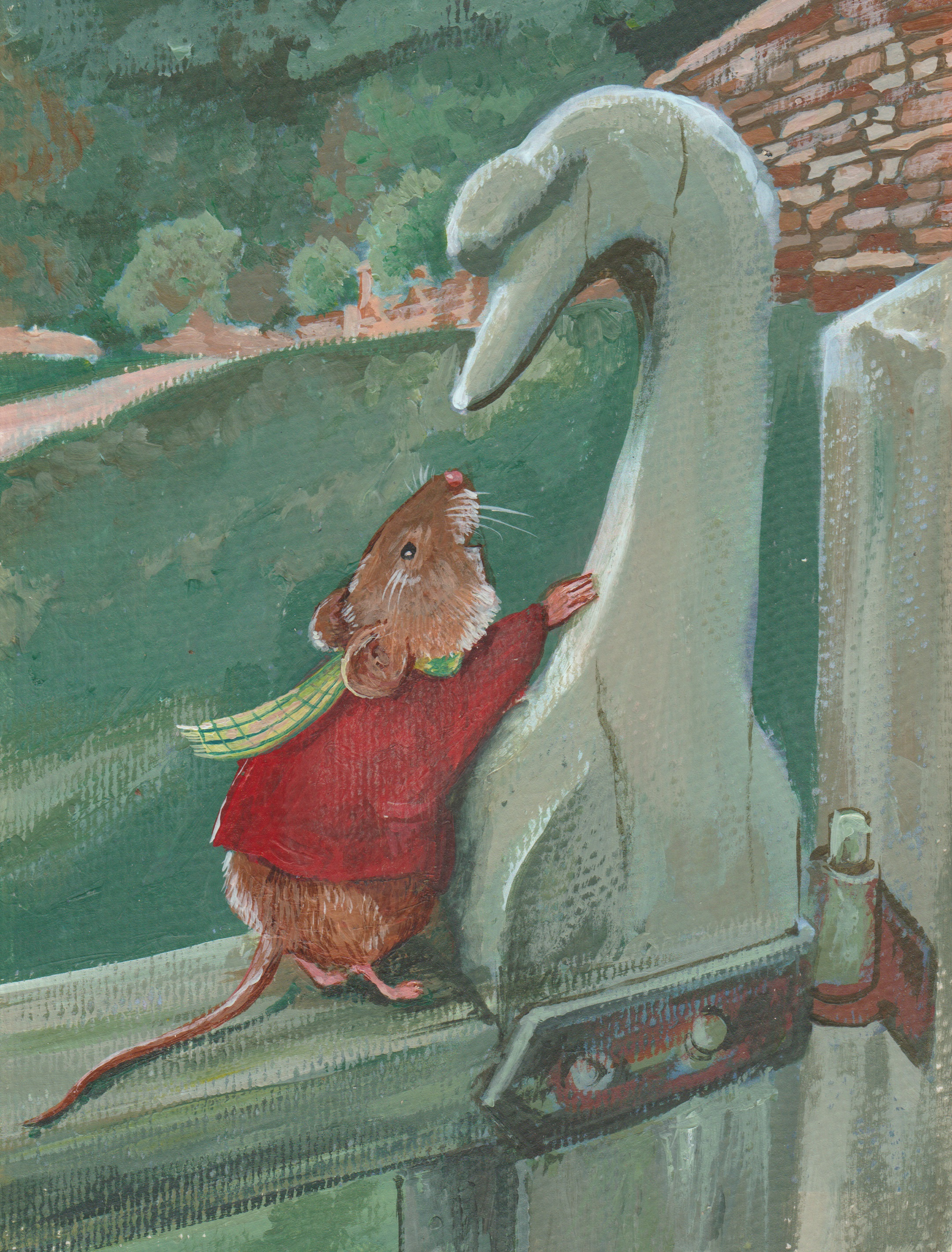 Mouse wearing red jacket talking to wooden swan-KBMorgan