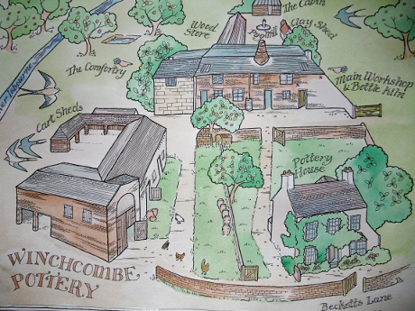 Handrawn map of birds eye view of The Winchcombe Pottery.