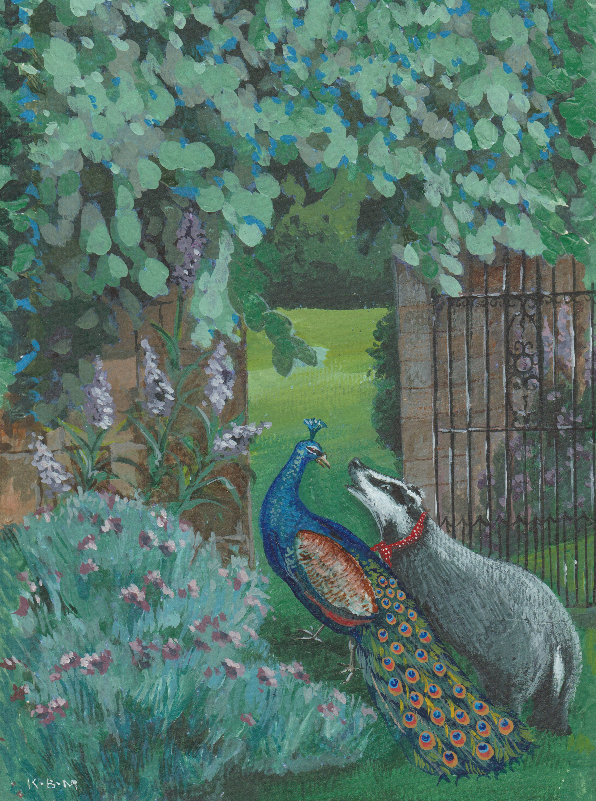 Badger and peacock walking through a garden gate - KBMorgan